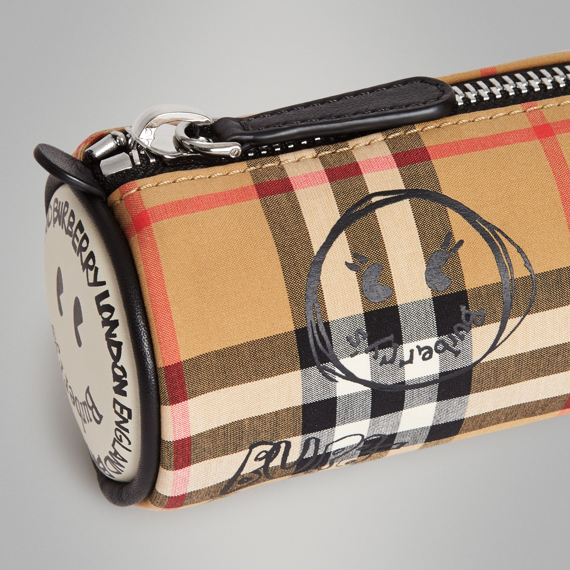 Street Art Print Vintage Check Pencil Case in Antique Yellow | Burberry - gallery image 1