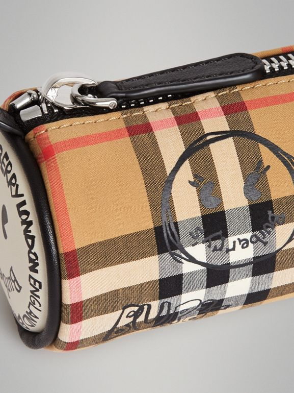 Street Art Print Vintage Check Pencil Case in Antique Yellow | Burberry - cell image 1
