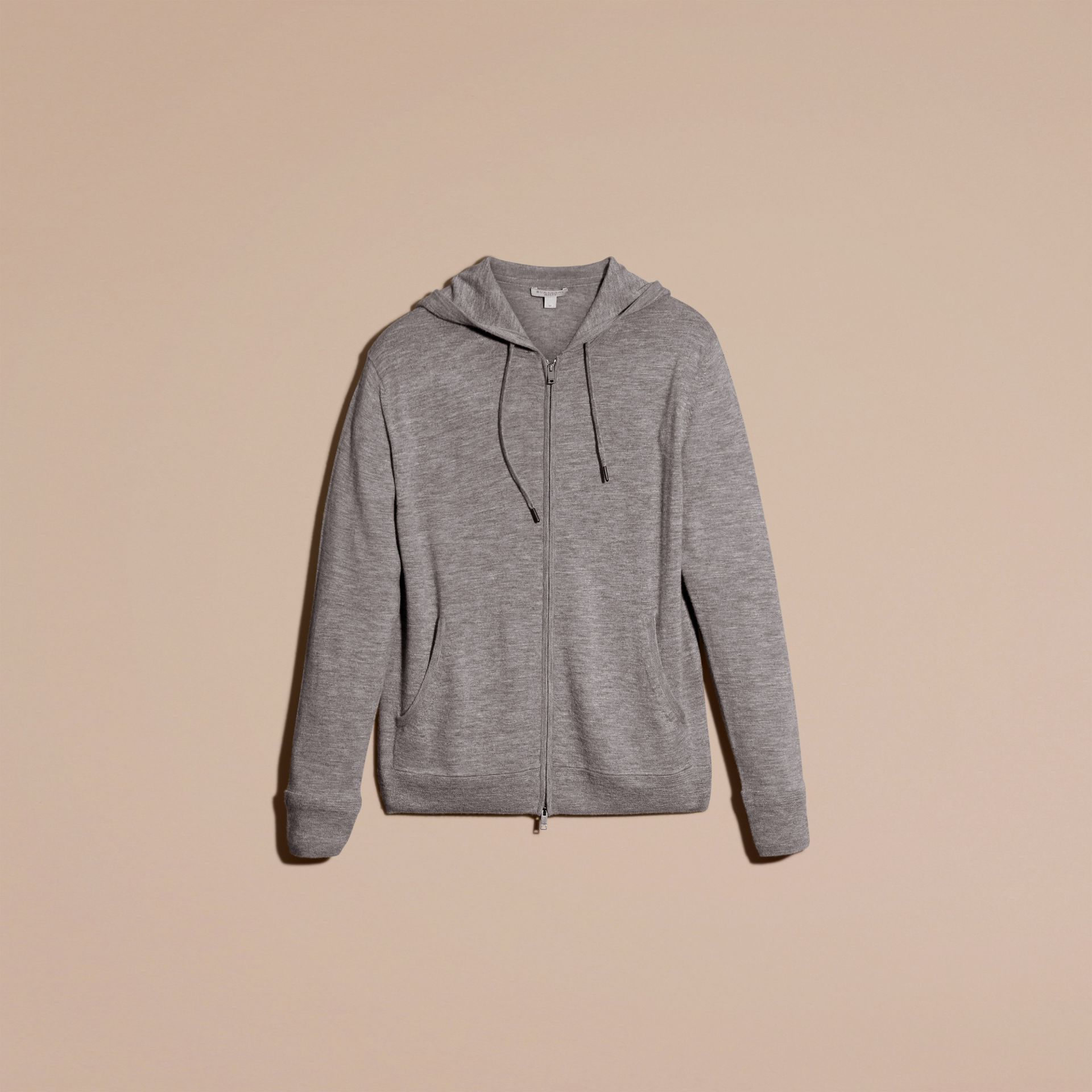 Mid grey melange Hooded Cashmere Top - gallery image 4