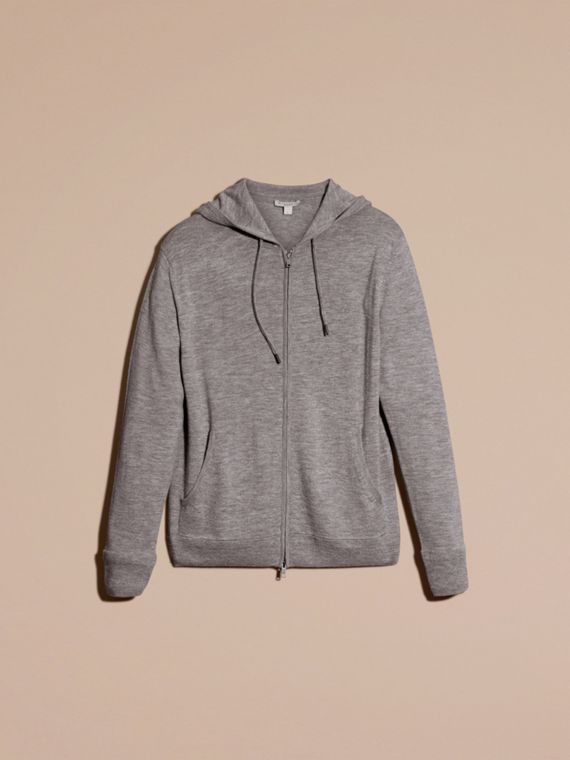 Mid grey melange Hooded Cashmere Top - cell image 3