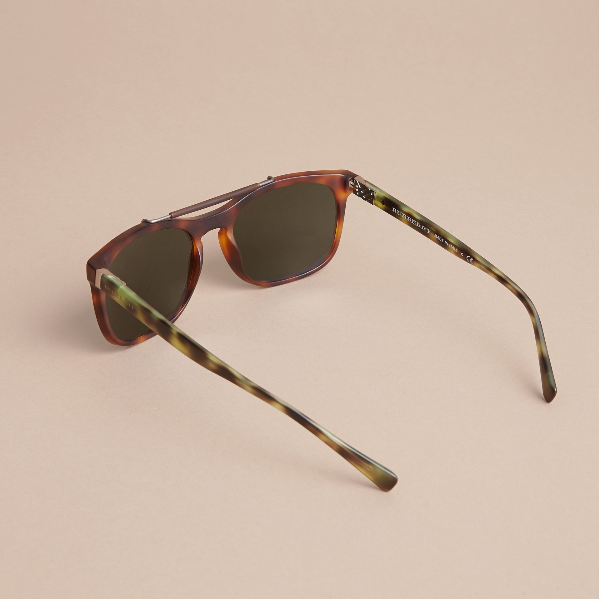 Top Bar Square Frame Sunglasses in Brown | Burberry United States - gallery image 3
