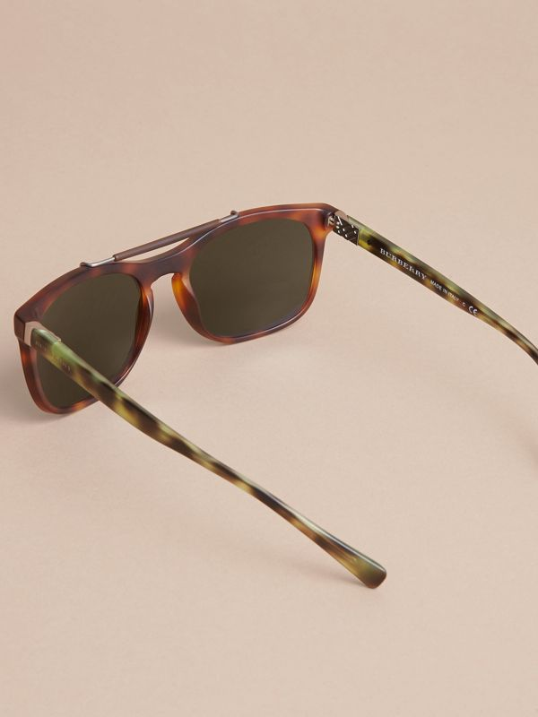 Top Bar Square Frame Sunglasses in Brown | Burberry Singapore - cell image 3