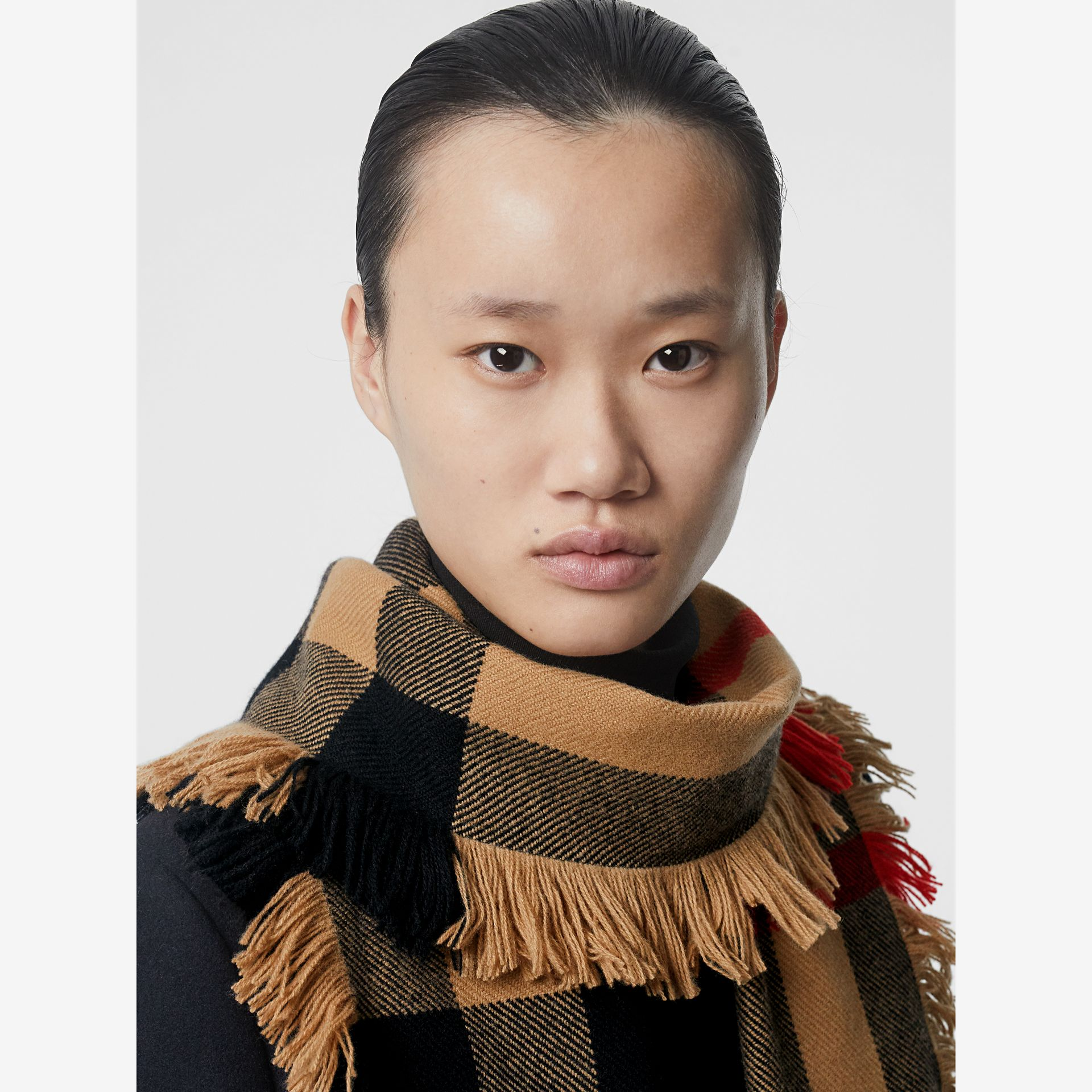 Fringed Check Wool Scarf in Camel | Burberry - gallery image 5
