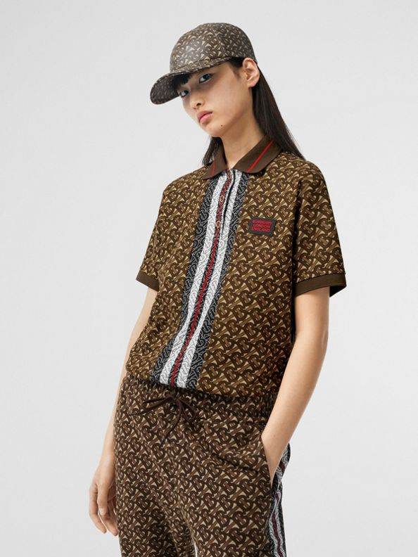 Monogram Stripe Print Cotton Oversized Polo Shirt in Bridle Brown