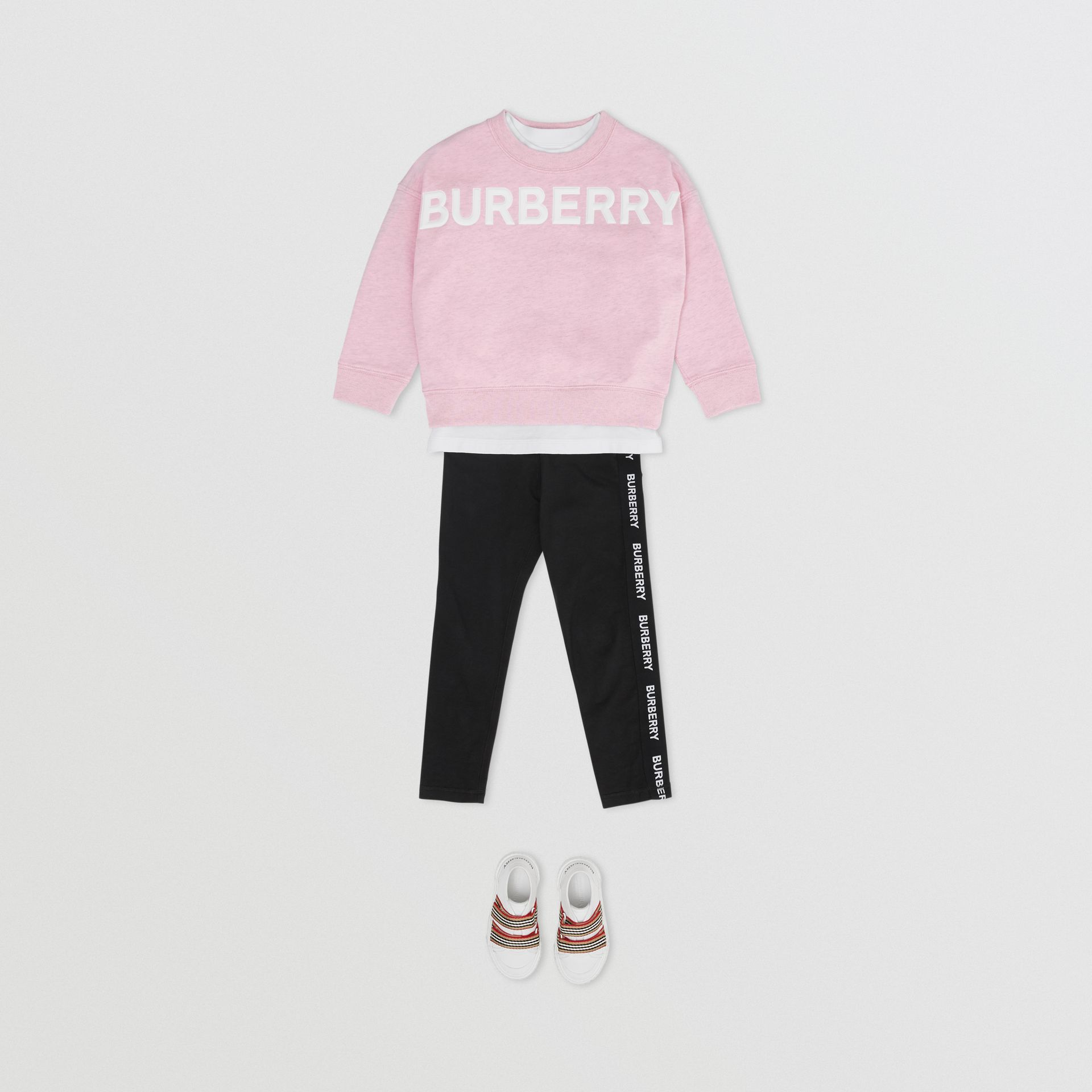 Logo Detail Cotton Sweatshirt in Pale Neon Pink - Girl | Burberry - gallery image 1