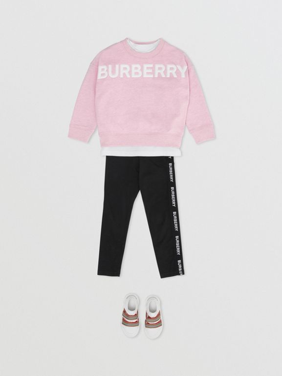 Logo Detail Cotton Sweatshirt in Pale Neon Pink - Girl | Burberry - cell image 1