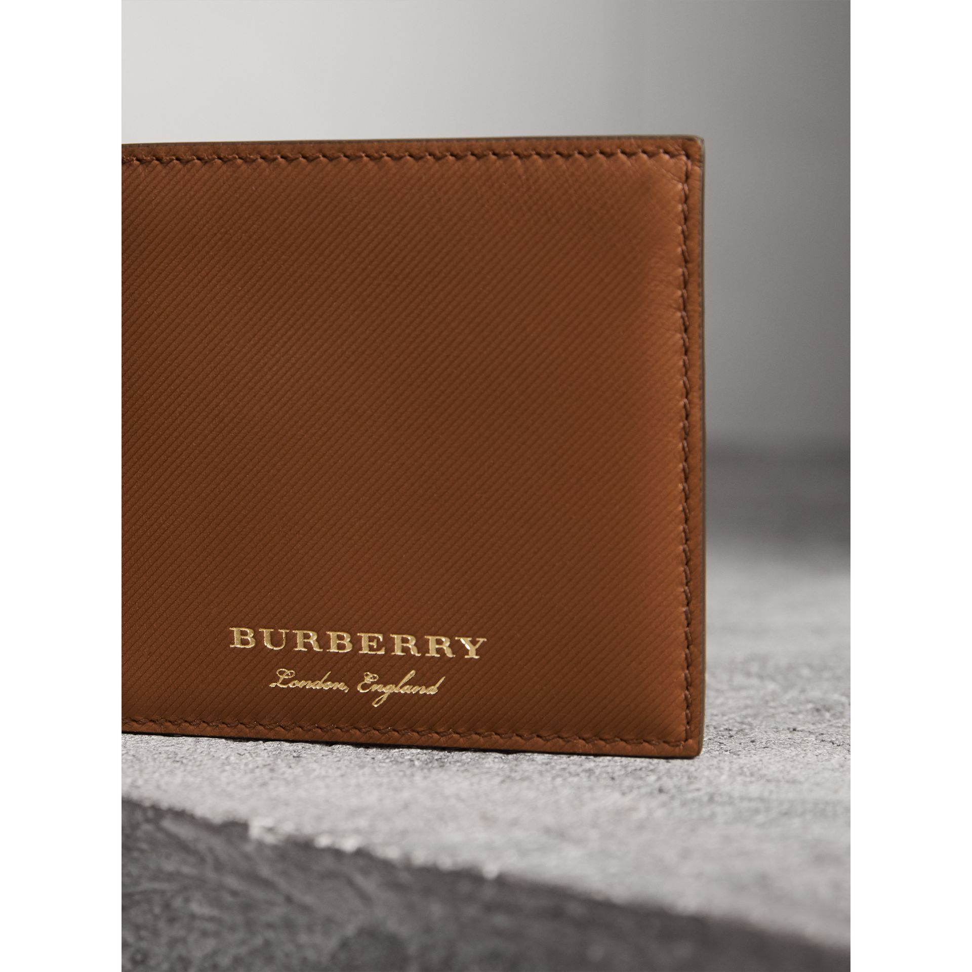 Trench Leather International Bifold Wallet in Tan - Men | Burberry United States - gallery image 1