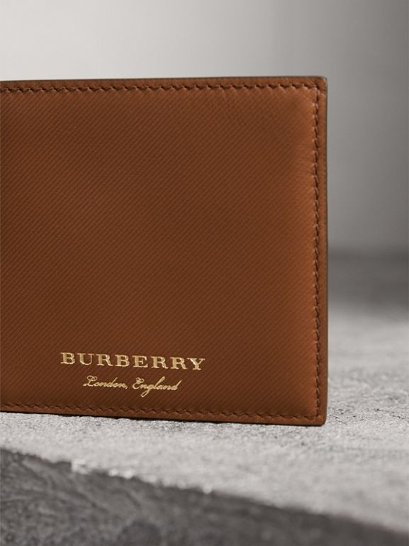 Trench Leather International Bifold Wallet in Tan - Men | Burberry - cell image 1