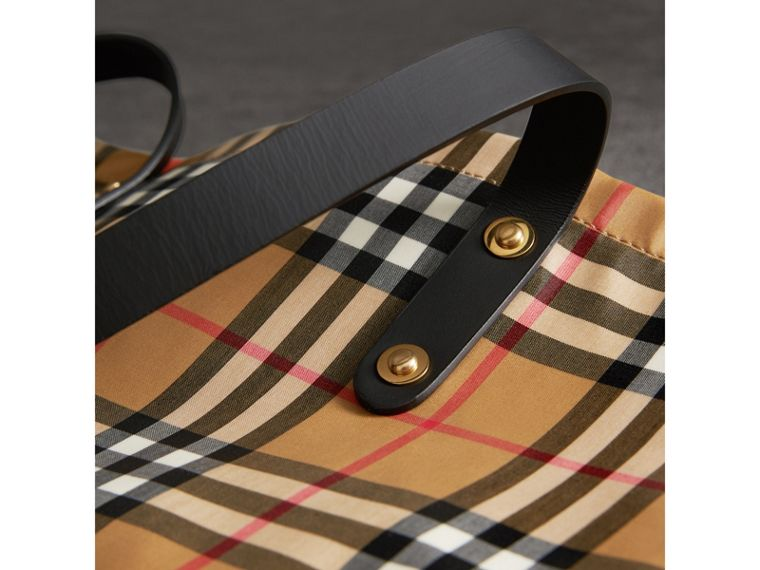 Large Coated Vintage Check Shopper in Black | Burberry - cell image 1
