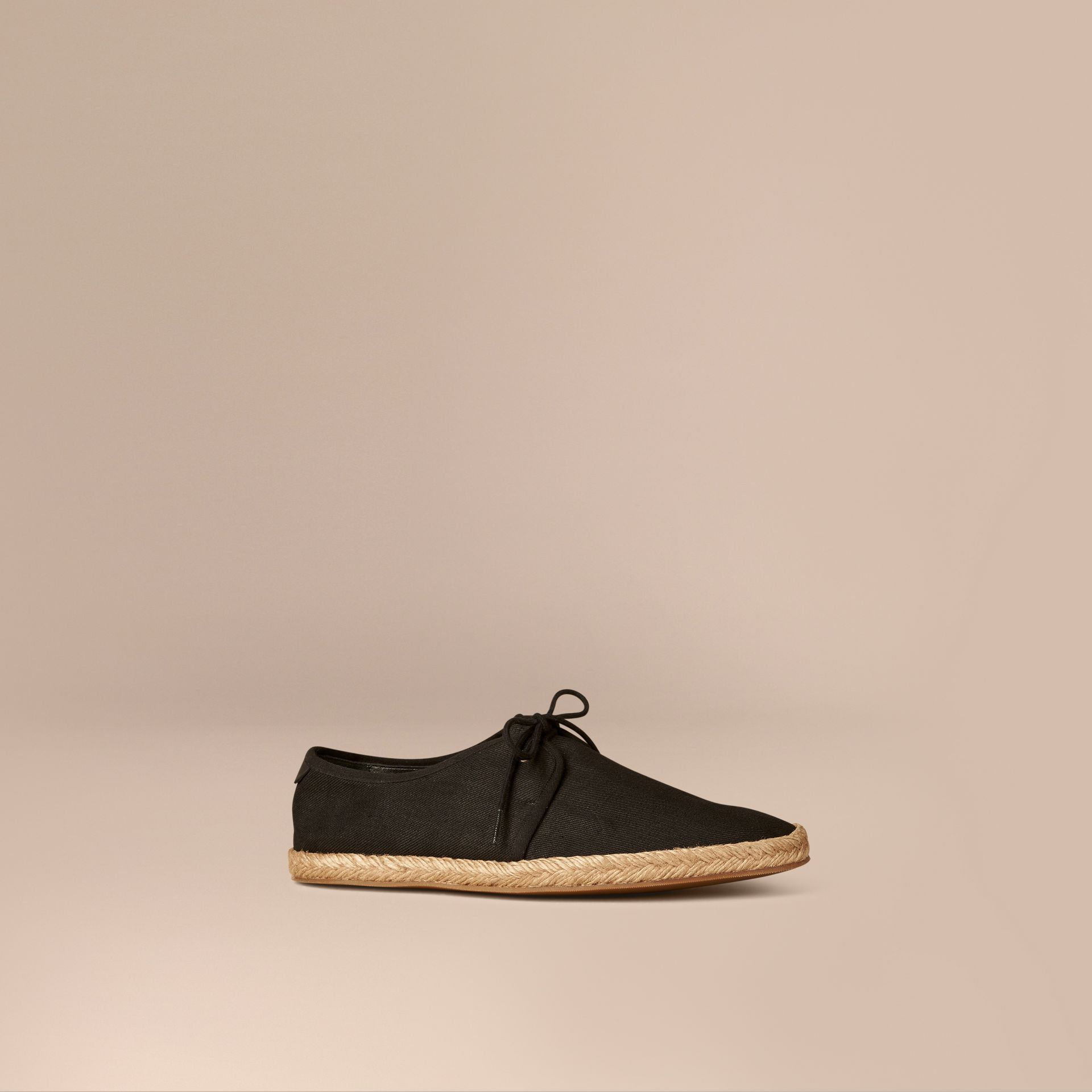 Black Japanese Linen Lace-up Espadrilles Black - gallery image 1