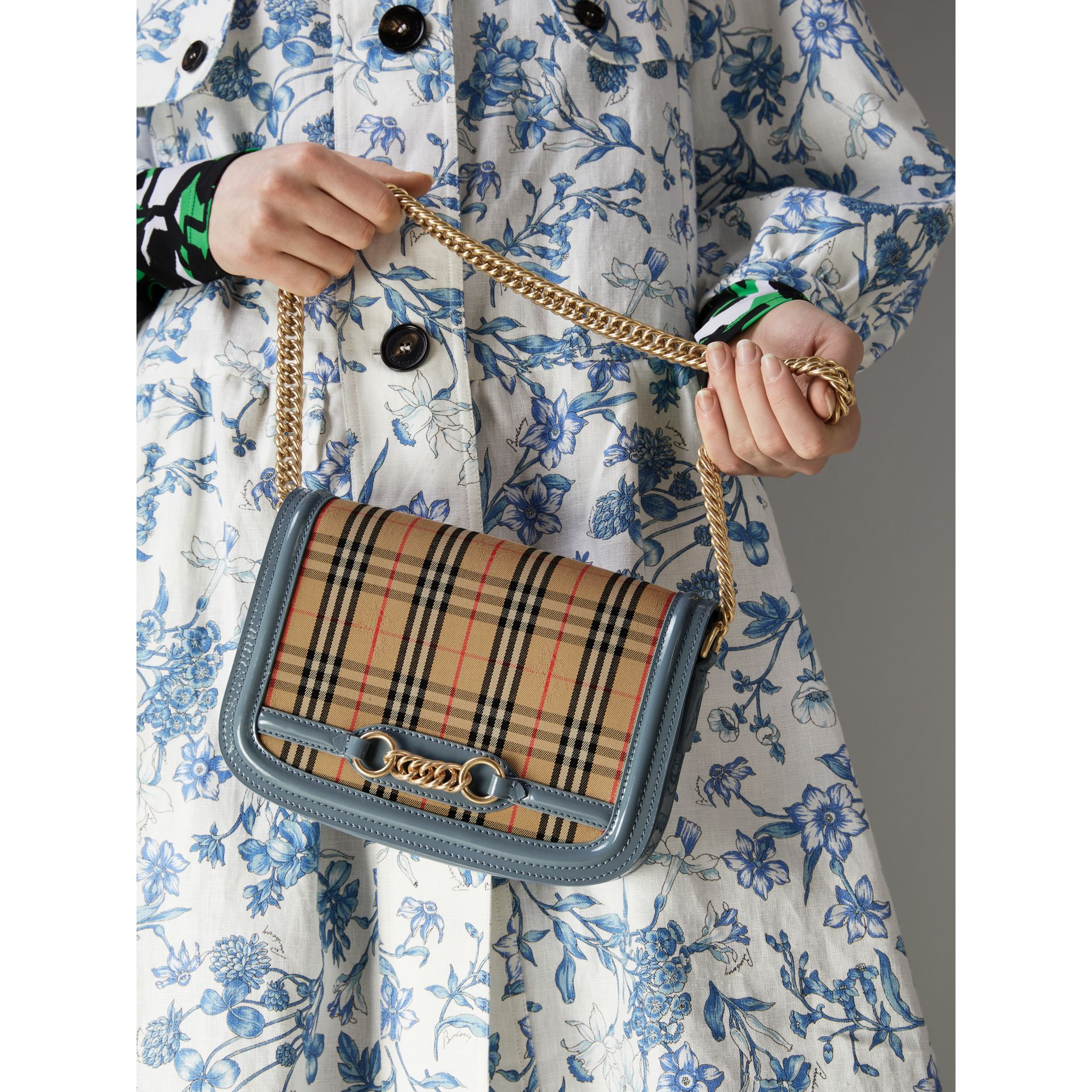 The 1983 Check Link Bag with Patent Trim in Blue Sage - Women | Burberry Singapore - gallery image 7