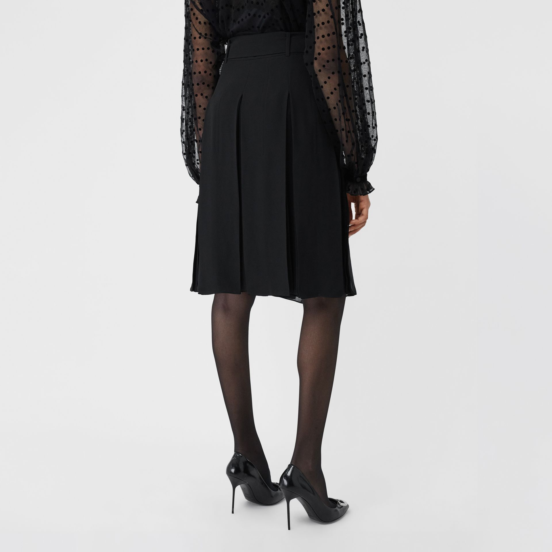 Tie-waist Pleated Georgette Skirt in Black - Women | Burberry - gallery image 2