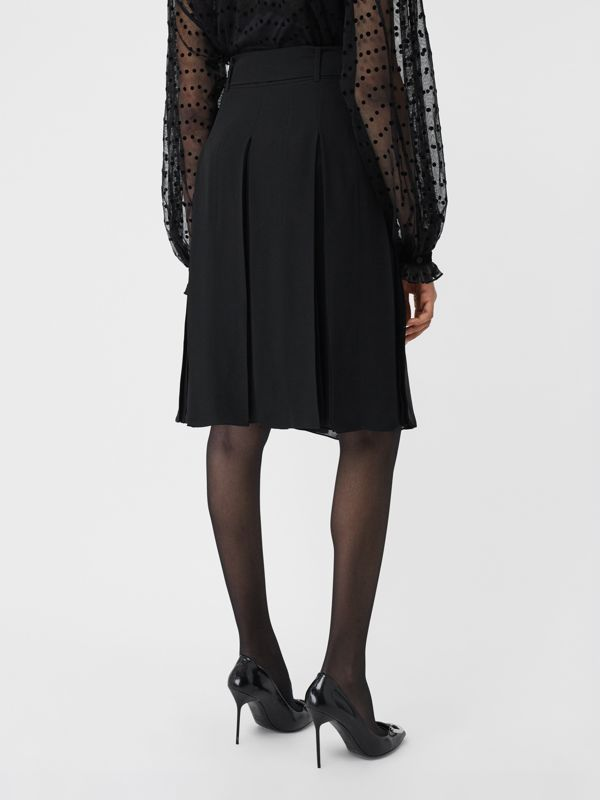 Tie-waist Pleated Georgette Skirt in Black - Women | Burberry United Kingdom - cell image 2