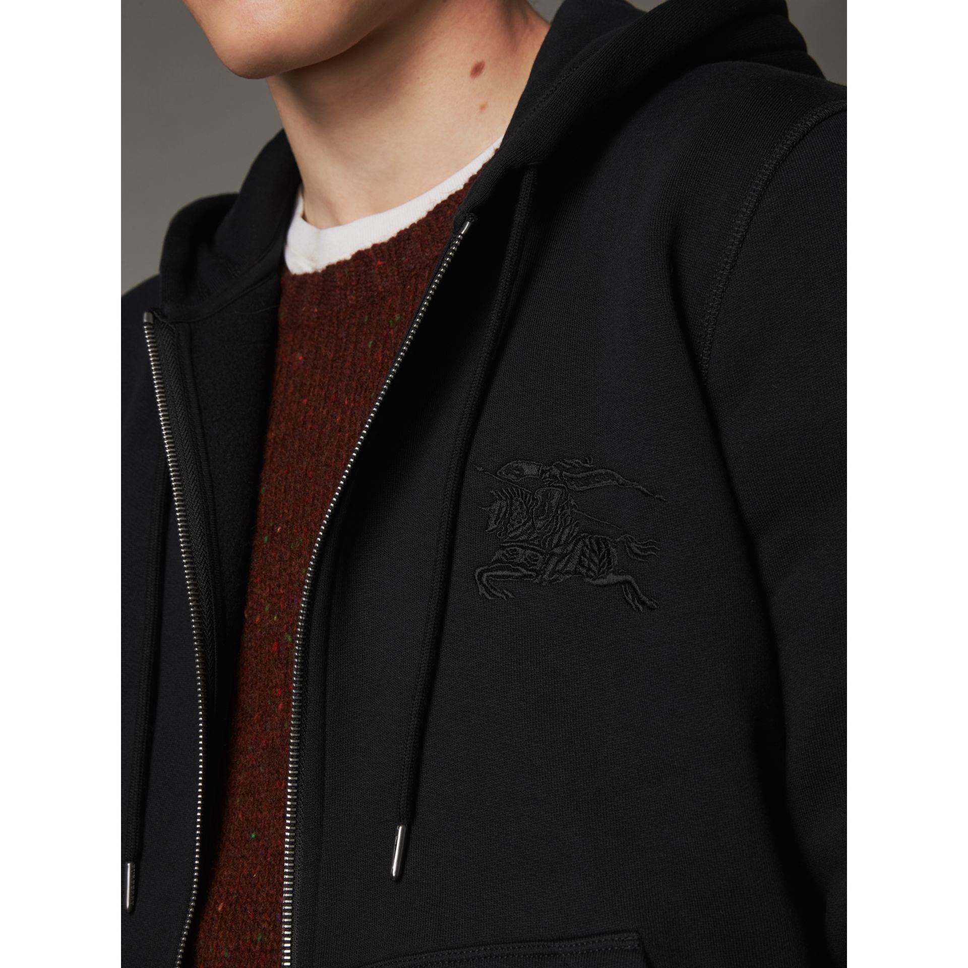 Equestrian Knight Device Jersey Hooded Zip-front Top in Black - Men | Burberry United Kingdom - gallery image 2