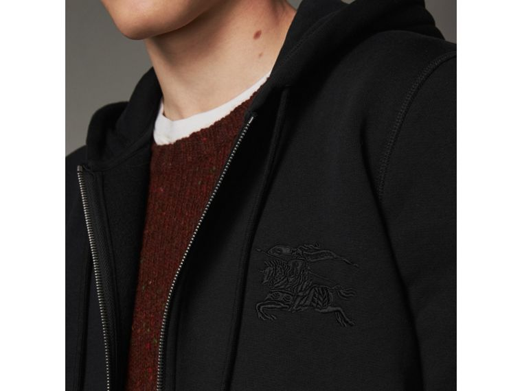Equestrian Knight Device Jersey Hooded Zip-front Top in Black - Men | Burberry United Kingdom - cell image 1