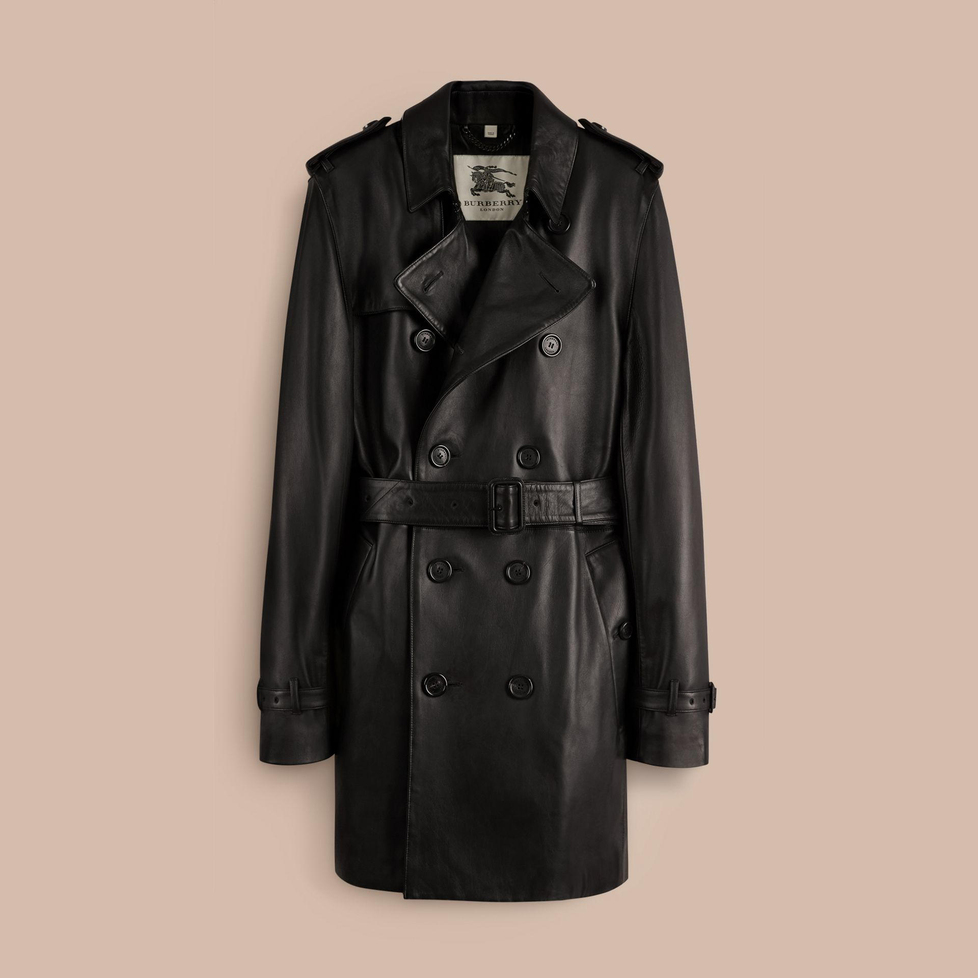 Black Mid-length Lambskin Trench Coat - gallery image 4