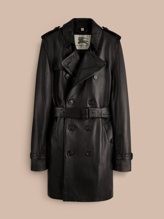 Black Mid-length Lambskin Trench Coat - cell image 3
