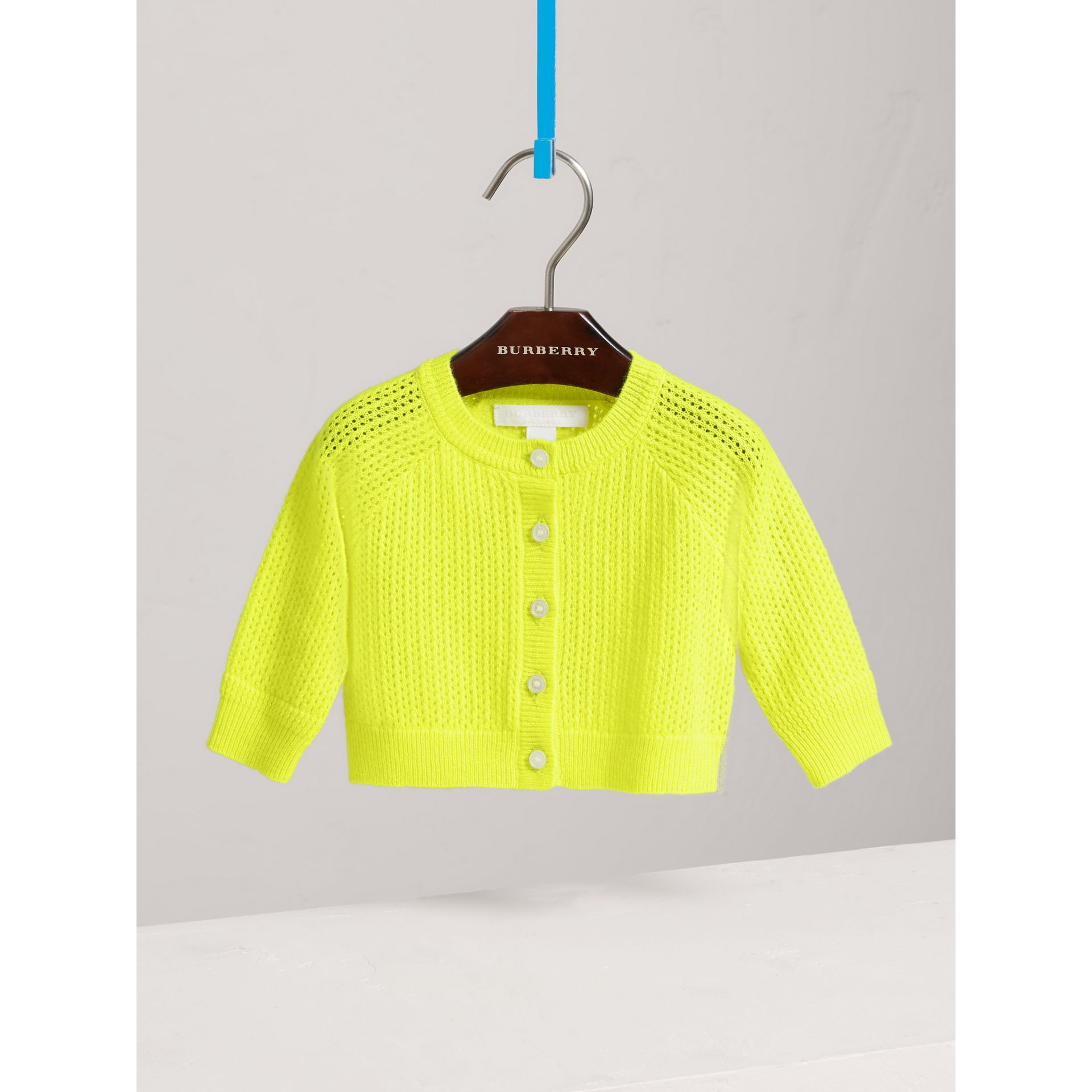 Open-stitch Knitted Cashmere Cardigan in Neon Yellow | Burberry Australia - gallery image 0