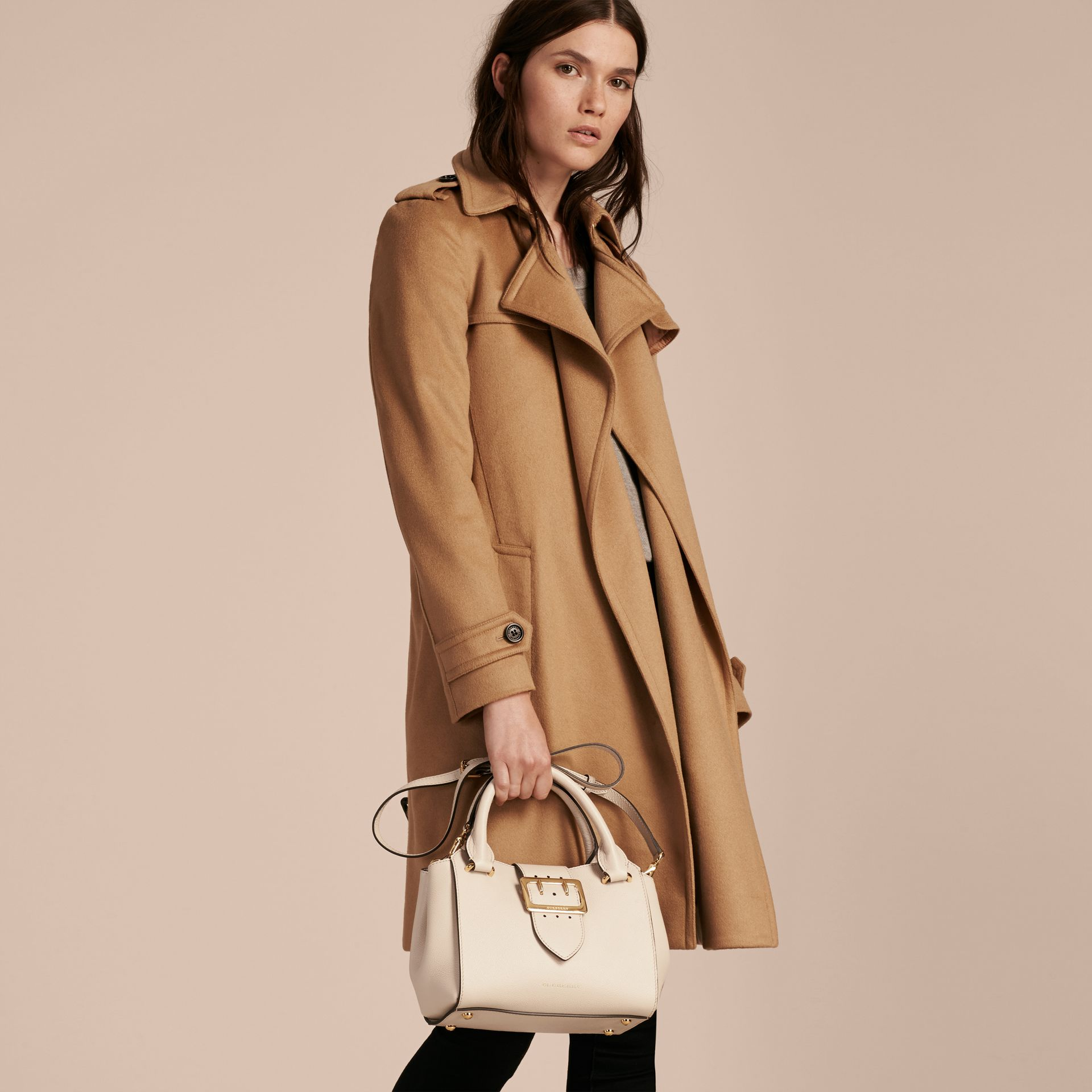 The Small Buckle Tote in Grainy Leather in Limestone - Women | Burberry United Kingdom - gallery image 2