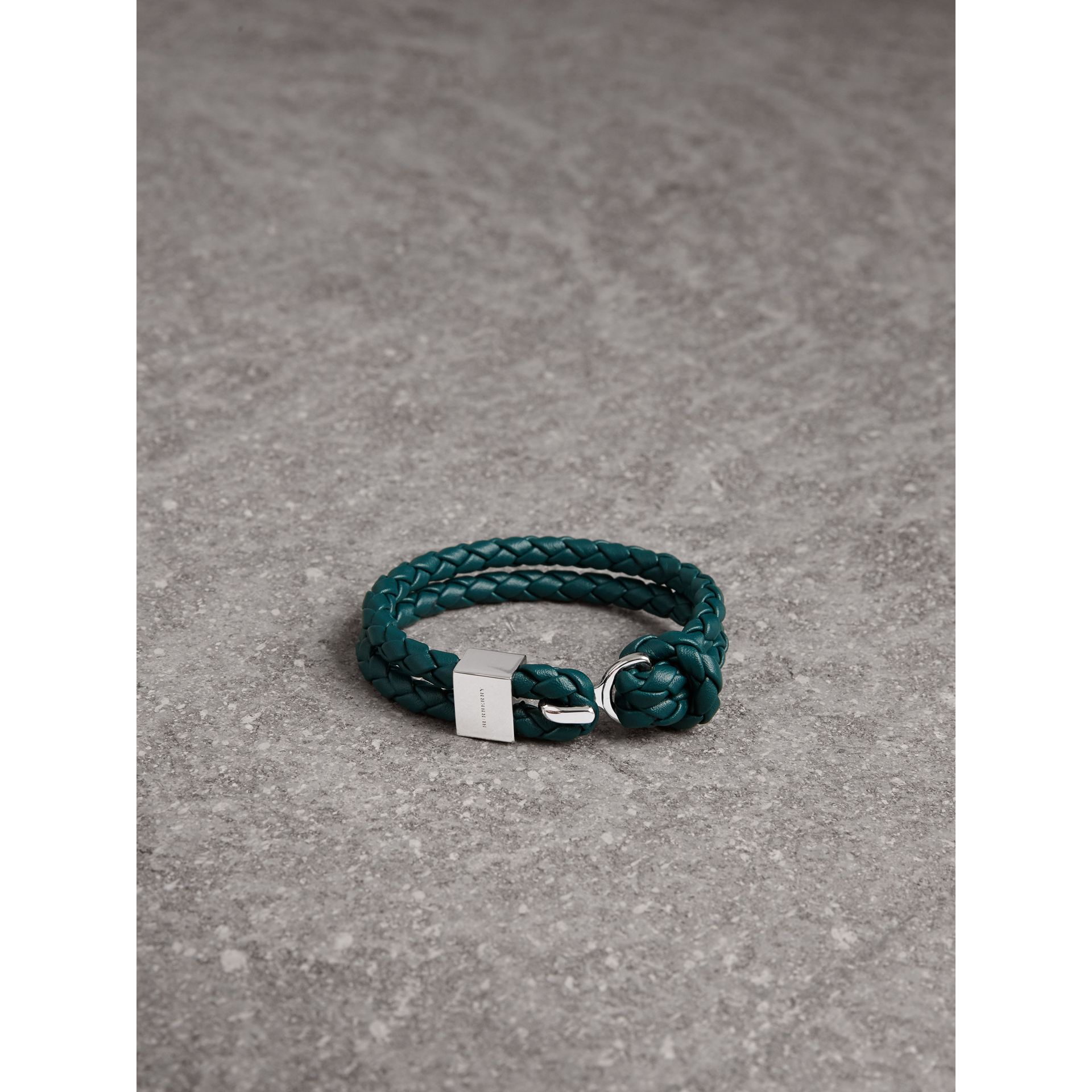 Braided Leather Bracelet in Dark Teal - Men | Burberry - gallery image 1