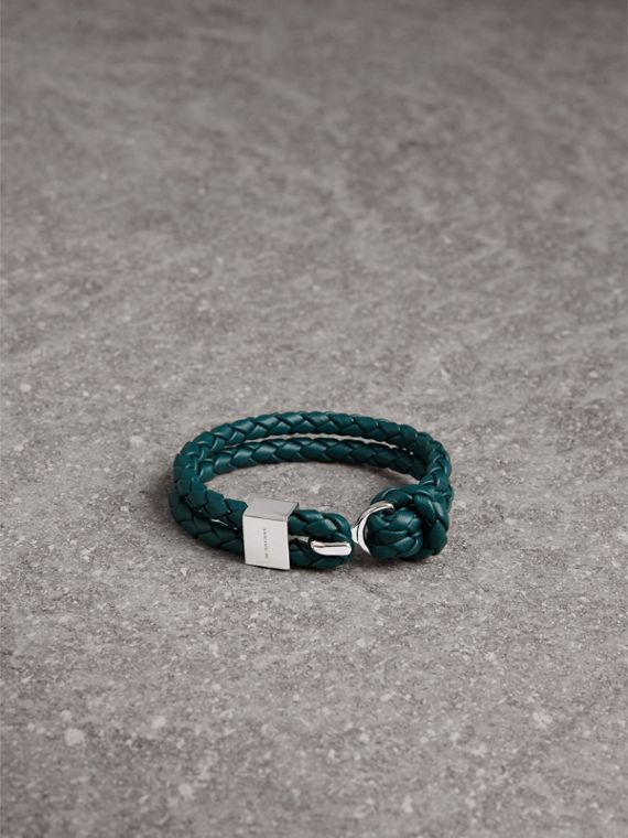 Braided Leather Bracelet in Dark Teal