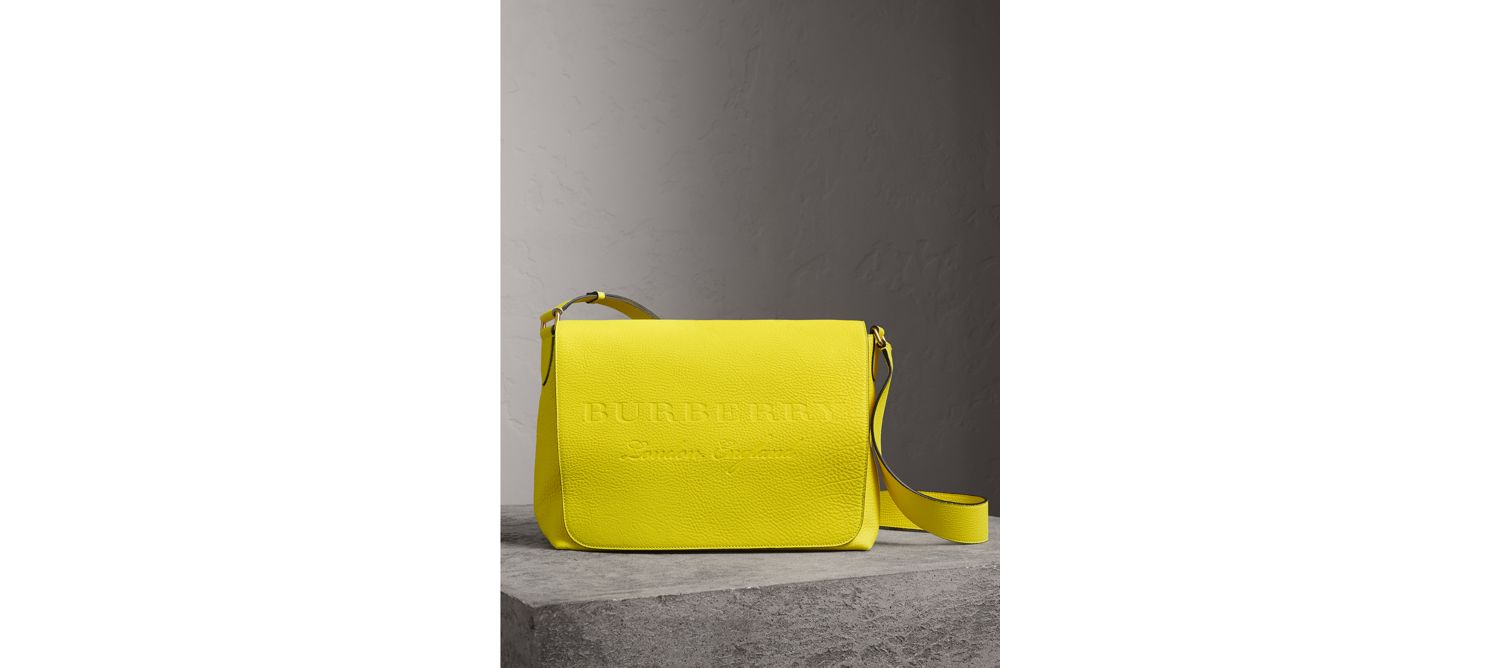 Large Embossed Leather Messenger Bag in Neon Yellow