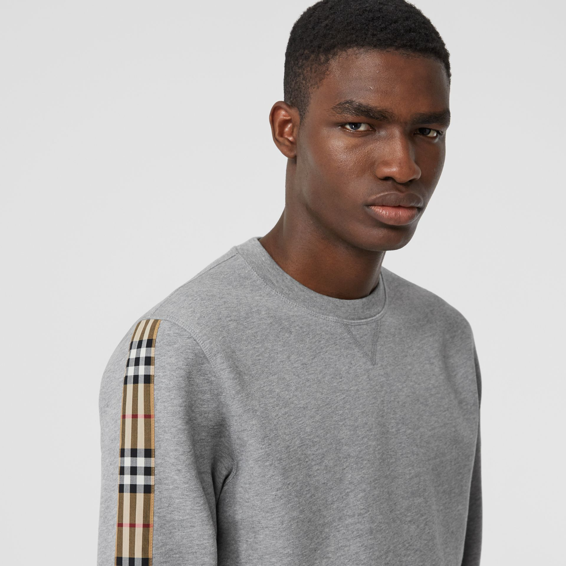 Vintage Check Panel Jersey Sweatshirt in Pale Grey Melange - Men | Burberry Singapore - gallery image 1