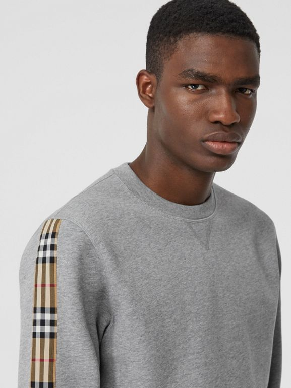 Vintage Check Panel Jersey Sweatshirt in Pale Grey Melange - Men | Burberry Singapore - cell image 1