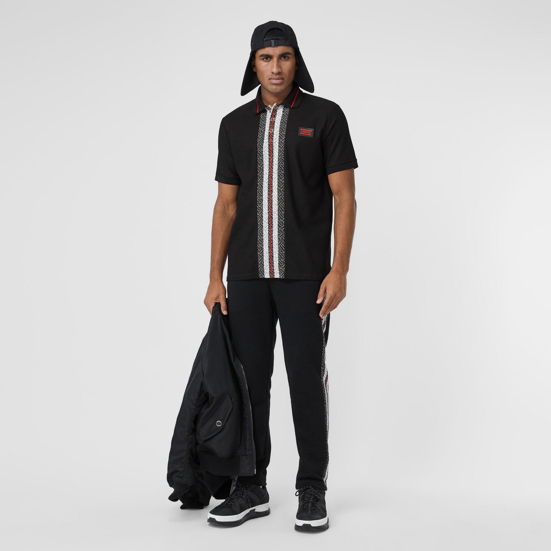 Monogram Stripe Print Cotton Piqué Polo Shirt in Black - Men | Burberry - gallery image 4