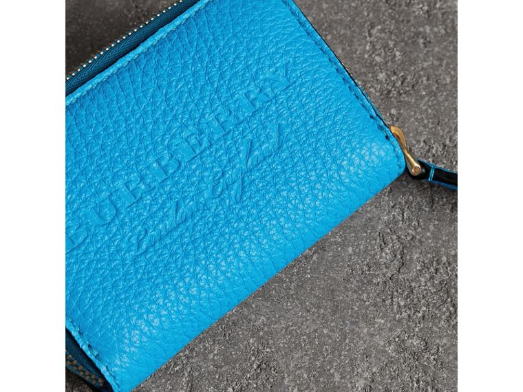 Embossed Leather Ziparound Coin Case in Neon Blue - Men | Burberry - cell image 1