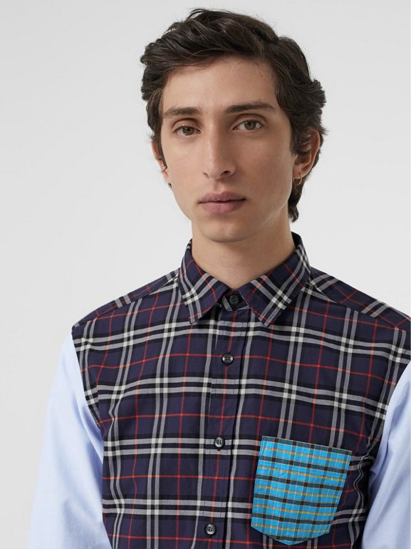 Contrast Check Panelled Cotton Shirt in Navy Blue - Men | Burberry United States - cell image 1