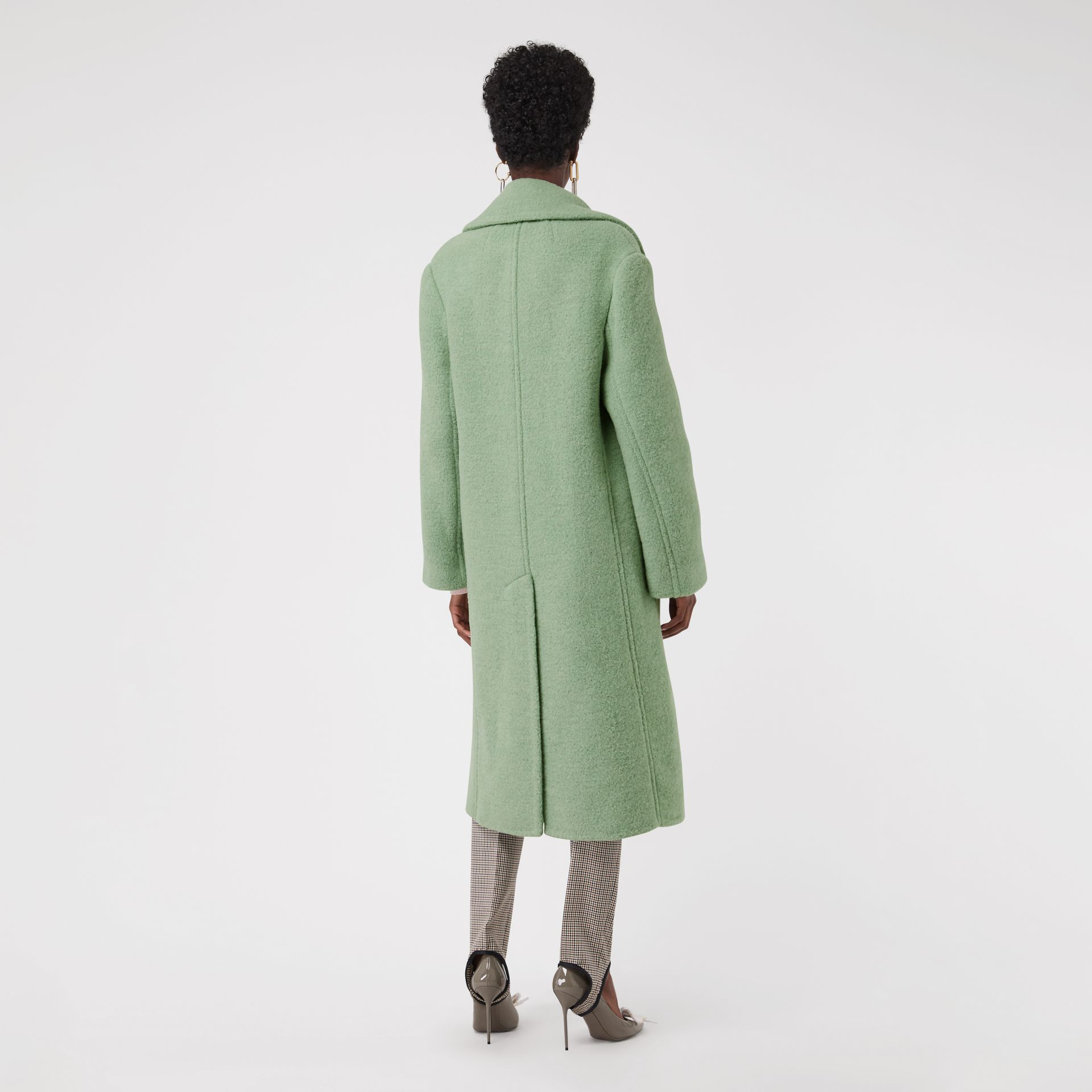 Double-faced Wool Alpaca Blend Oversized Coat in Celadon Green - Women | Burberry United Kingdom - gallery image 2
