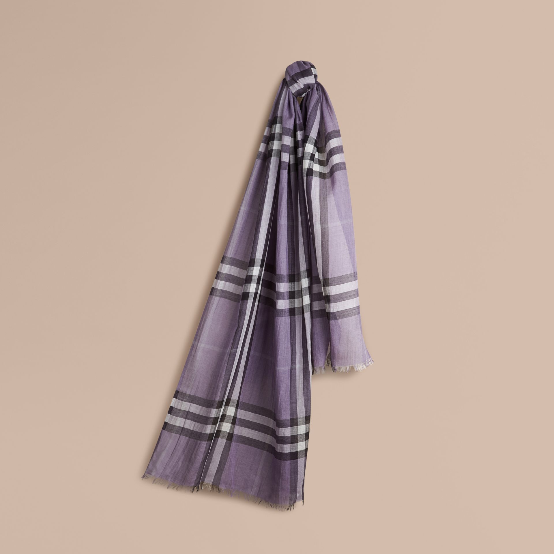 Lilac Lightweight Check Wool and Silk Scarf Lilac - gallery image 1
