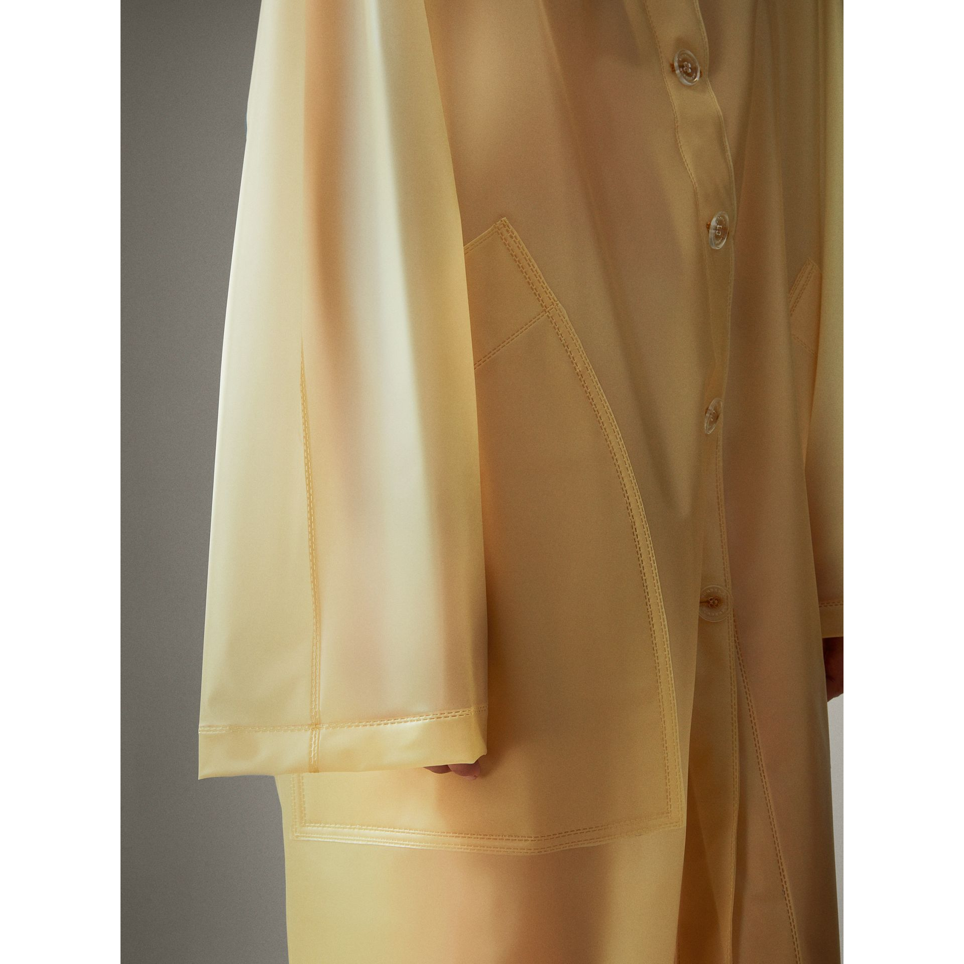 Soft-touch Plastic Hooded Car Coat in Antique Yellow - Women | Burberry - gallery image 4