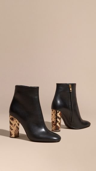 Check Heel Leather Ankle Boots