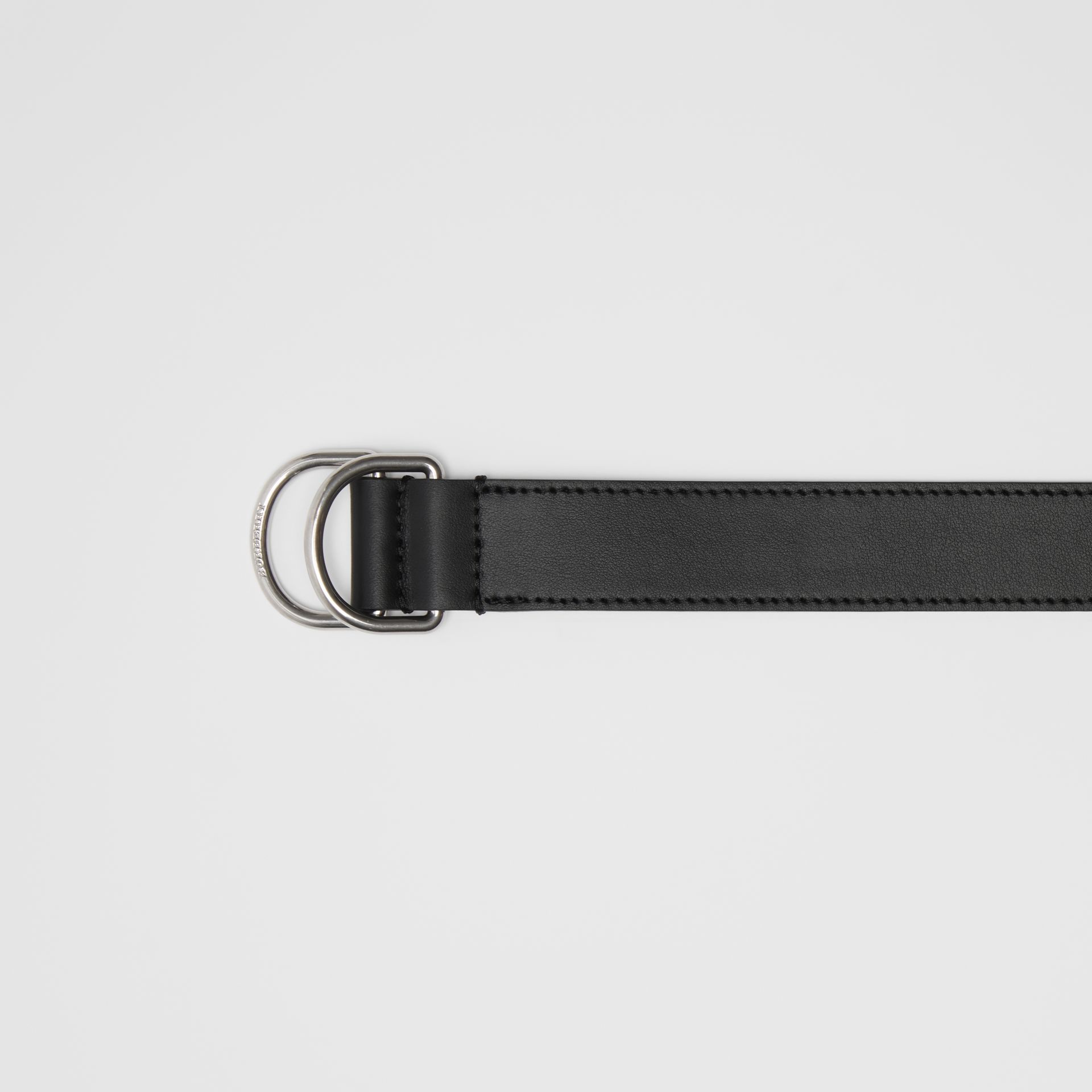 Leather Double D-ring Belt in Black - Men | Burberry - gallery image 1