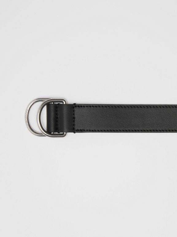 Leather Double D-ring Belt in Black - Men | Burberry - cell image 1
