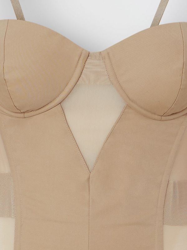Mesh Panel Detail Cotton Bodice in Pale Honey - Women | Burberry - cell image 2