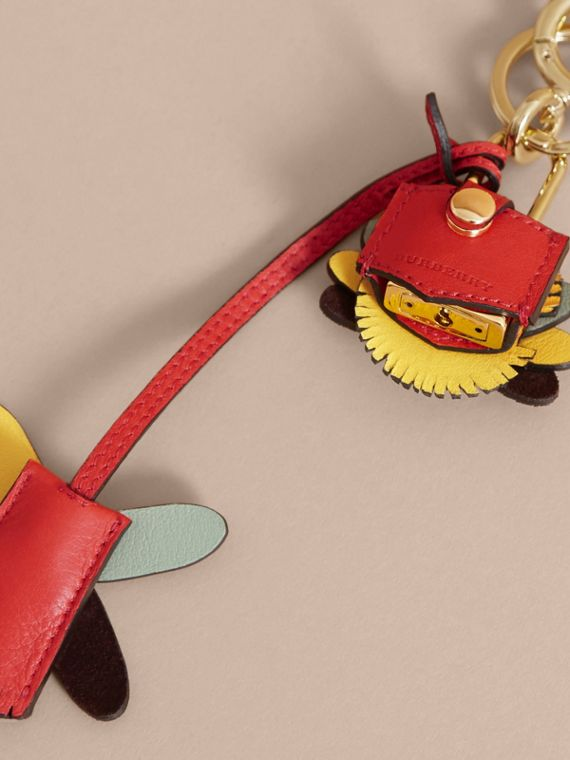 Beasts Leather Key Charm and Padlock in Amber Yellow - Women | Burberry - cell image 3