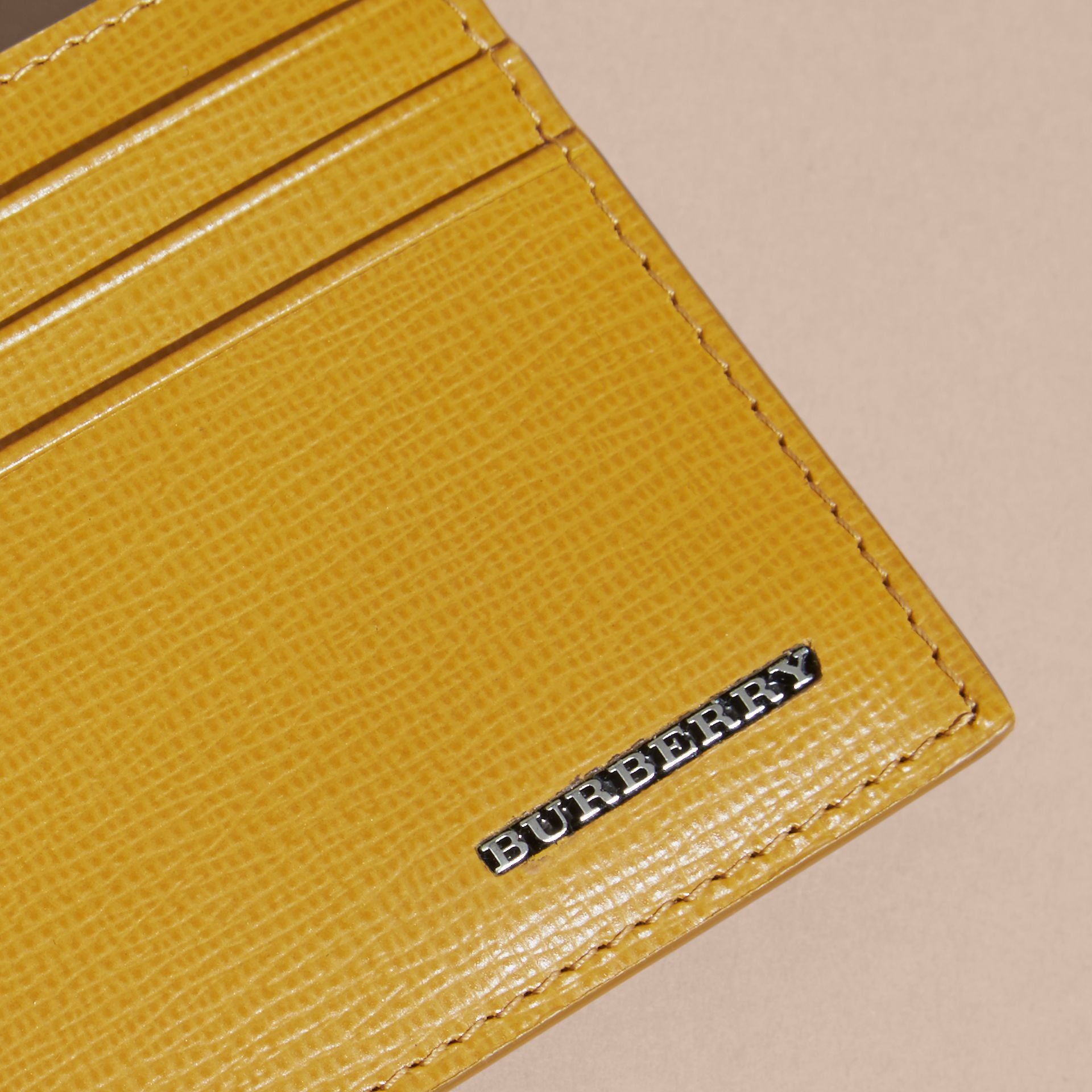 London Leather Card Case Larch Yellow - gallery image 3