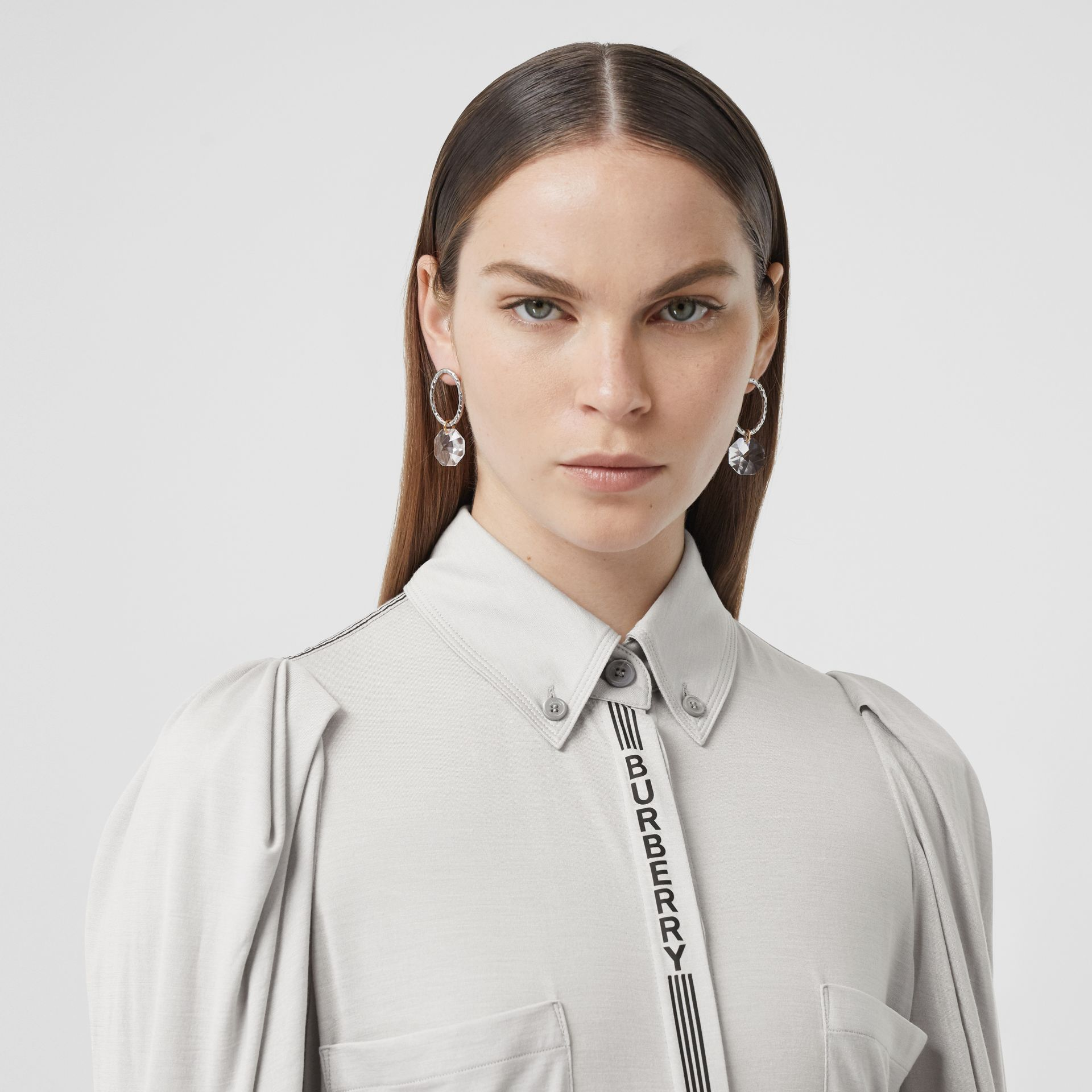 Logo Print Silk Wool Jersey Shirt in Grey Melange - Women | Burberry - gallery image 1