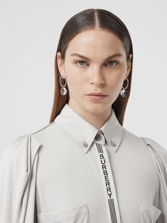 Logo Print Silk Wool Jersey Shirt in Grey Melange - Women | Burberry - cell image 1
