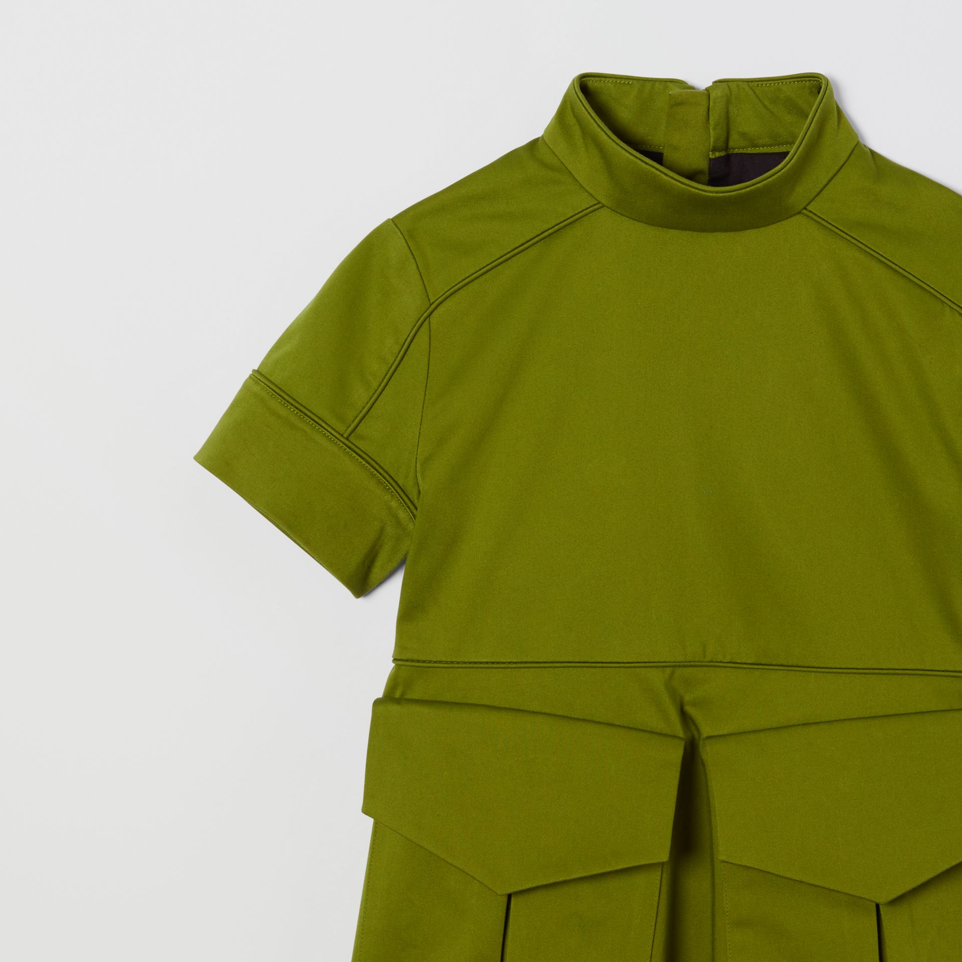 Short-sleeve Cotton Sateen Funnel Neck Dress in Bright Green - Girl | Burberry - gallery image 4