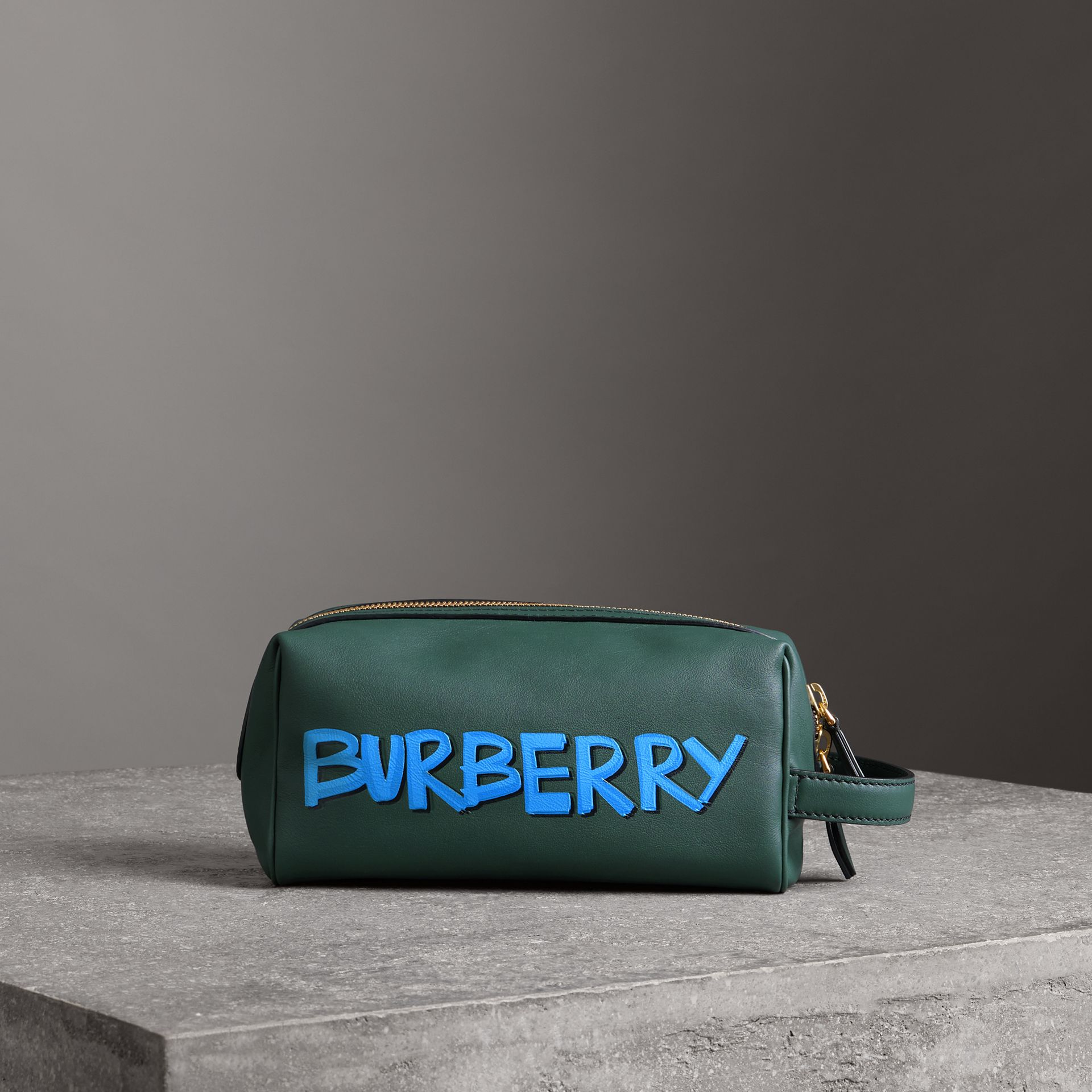 Graffiti Print Leather Pouch in Deep Bottle Green | Burberry United Kingdom - gallery image 0