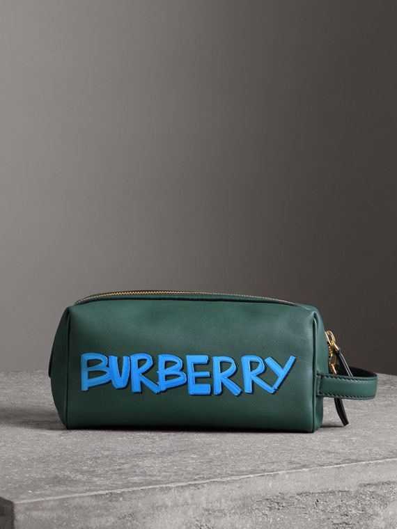 Graffiti Print Leather Pouch in Deep Bottle Green