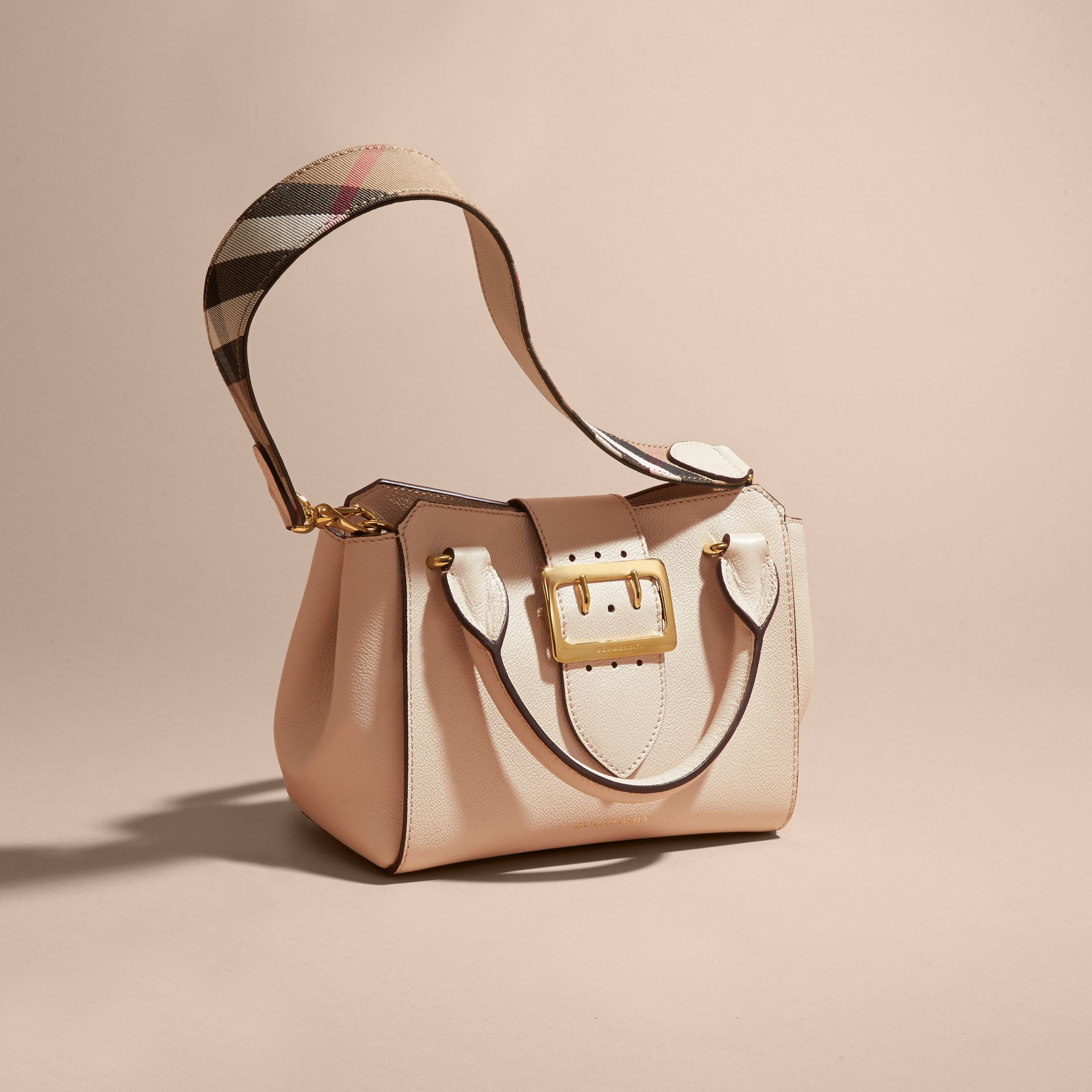 Limestone The Small Buckle Tote in Grainy Leather Limestone - gallery image 8