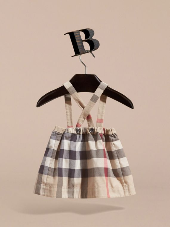New classic check Check Cotton Skirt with Detachable Straps - cell image 3