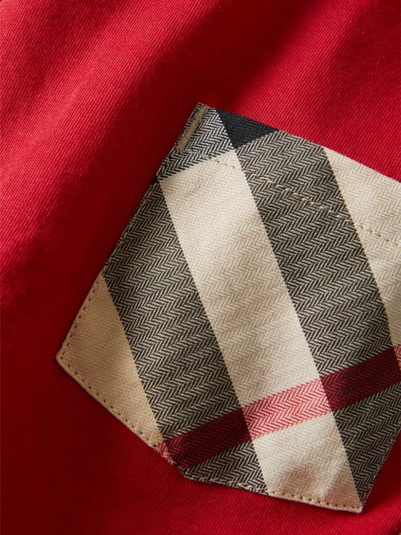 Long-sleeve Check Pocket Cotton T-shirt in Military Red - Boy | Burberry United Kingdom - cell image 1