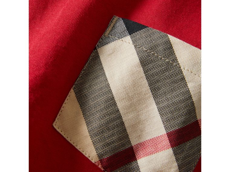 Long-sleeve Check Pocket Cotton T-shirt in Military Red - Boy | Burberry - cell image 1