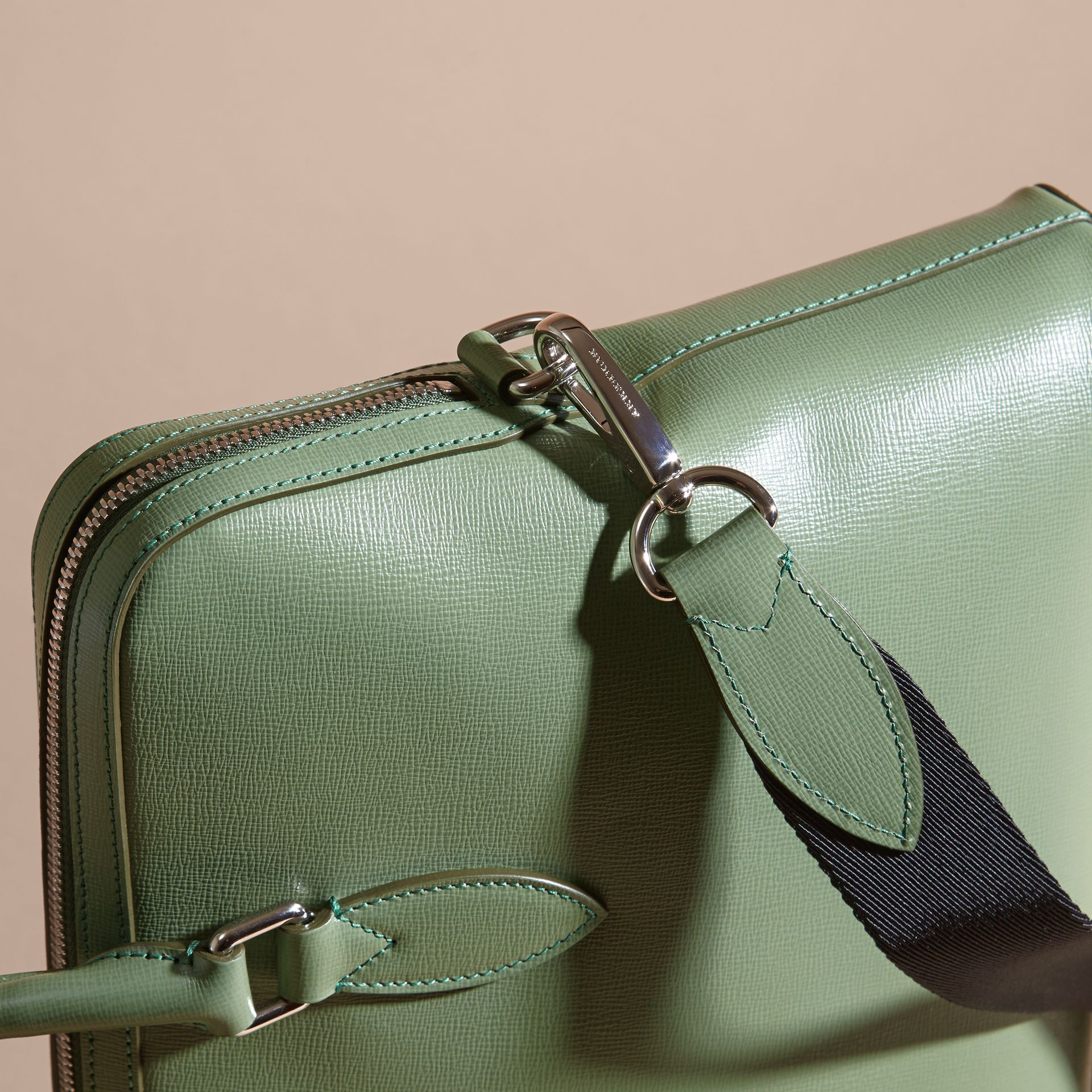 The Slim Barrow in London Leather in Antique Green - Men | Burberry - gallery image 7